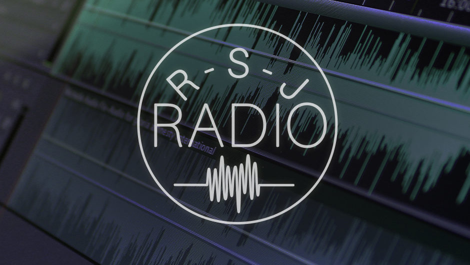 'R-S-J RADIO' is written in white text, inside a circle with a white outline. A close shot of audio levels on a screen is in the background.
