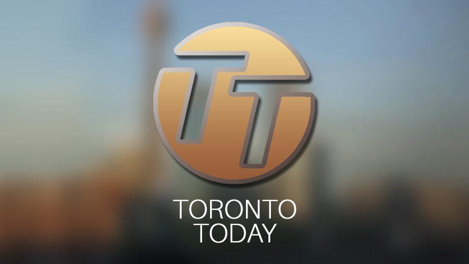 'TORONTO TODAY' is written in white letters, with 'TT' cut out of an orange circle above, on a blurred, mostly grey background.