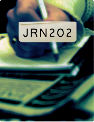 JRN 202 is written in black text, with someone writing in a notebook in the background.