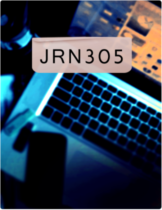 JRN 305 is written in black text, with a phone rested on a laptop in the background.