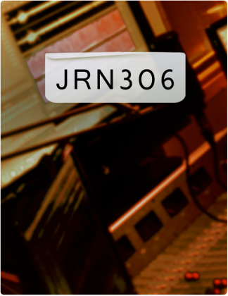 JRN 306 is written in black text, with screens and equipment in the background.
