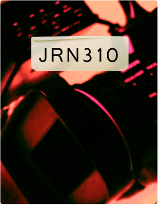 JRN 310 is written in black text, with a blurred red and black background.