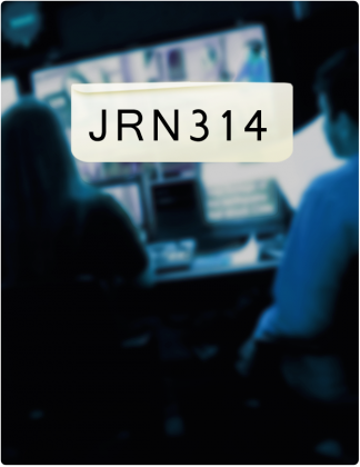 JRN 314 is written in black text, with two people in a control room in the background.