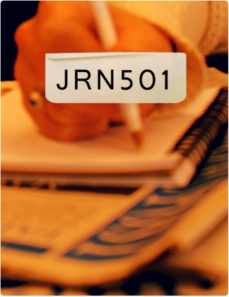 JRN 501 is written in black text, with someone writing in a notebook in the background.