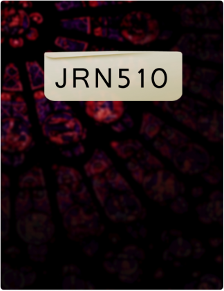 JRN 510 written in black text with a blurry red and black background.