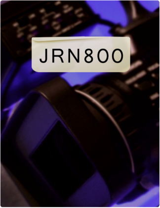 JRN 800 is written in black text, with a camera and a control room tinted purple in the background.