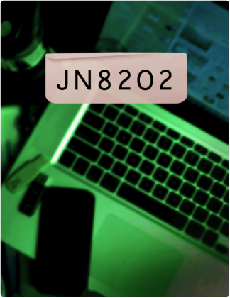 JN 8202 is written in black text, with a laptop open in the background, which is tinted green.