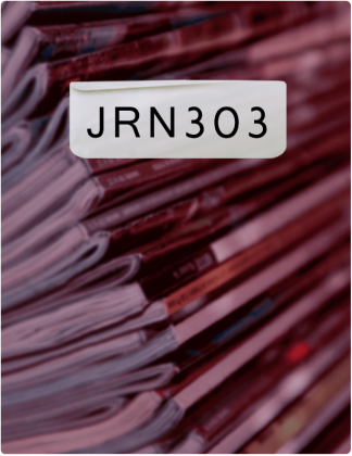 JRN 303 is written in black text, with books stacked on top of each other in the background.