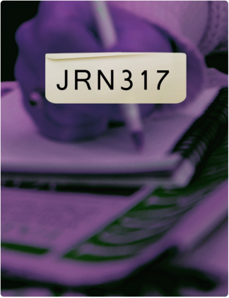 JRN 317 is written in black text, with someone writing in a notebook in the background.