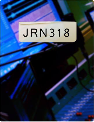 JRN 318 is written in black text, with screens in the background.