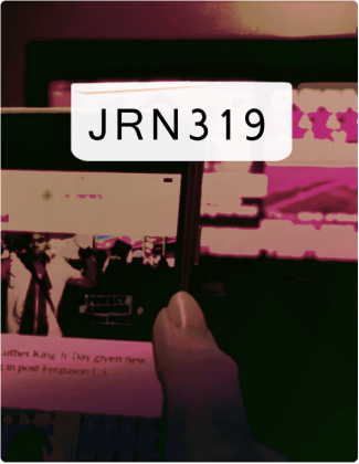 JRN 319 written in black text with a phone being held in the background.