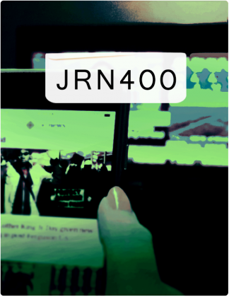 JRN 400 is written in black text, with a phone screen and computer screen in the background.