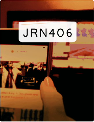 JRN 406 is written in black text, with a phone screen and computer screen in the background.