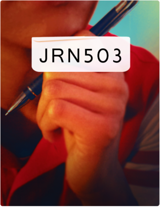 JRN 503 is written in black text, with a hand holding a pen in the background.