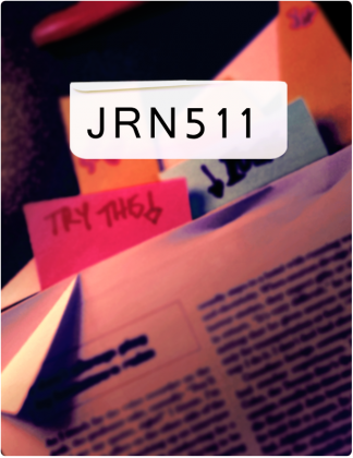 JRN 511 is written in black text, with post-it notes in a book in the background.