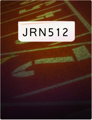 JRN 512 is written in black text, with a close shot of a running track in the background.