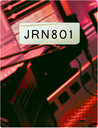 JRN 801 is written in black text, with a control room in the background.