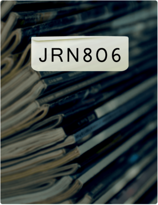 JRN 806 is written in black text, with books stacked on top of each other in the background.