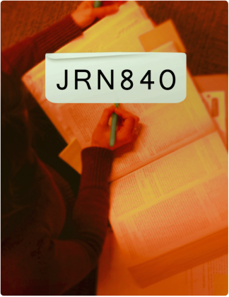 JRN 840 is written in black text, with someone highlighting text in a book in the background.