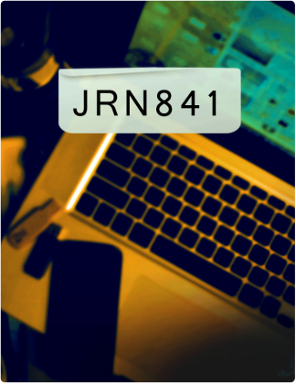 JRN 841 is written in black text, with a phone rested on a laptop in the background.
