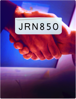 JRN 850 is written in black text, with a handshake happening in the background.