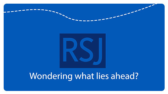 'RSJ' is written in blue font, with 'Wondering what lies ahead?' in white font underneath. The photo has a blue background.