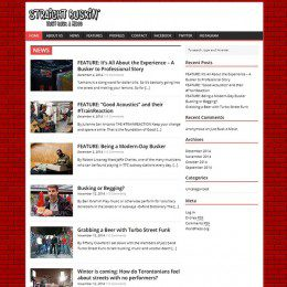 A homepage of a site titled 'Straight Buskin' with several articles below.