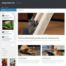 A homepage of a site titled 'Urban Pets T.O.' which displays several articles.