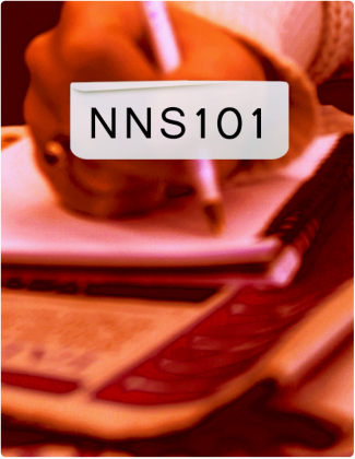 NNS 101 is written in black text, with someone writing in a notebook in the background.
