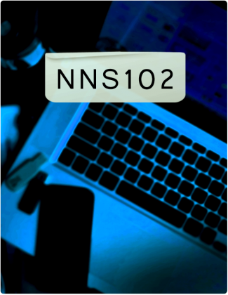 NNS 102 is written in black text, with a phone place on a laptop in the background.