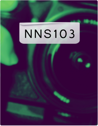 NNS 103 is written in black text, with a close shot of a camera in the background.