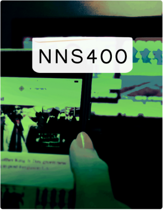 NNS 400 is written in black text, with screens tinted green in the background.
