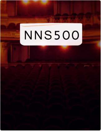 NNS 500 is written in black text, with an auditorium in the background.