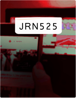 JRN 525 is written in black text, with a phone screen and computer screen tinted red in the background.
