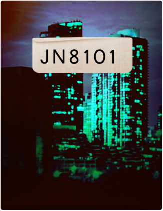 JN 8101 is written in black text, with buildings in the background.