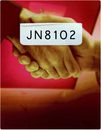 JN 8102 is written in black text, with a handshake happening in the background.