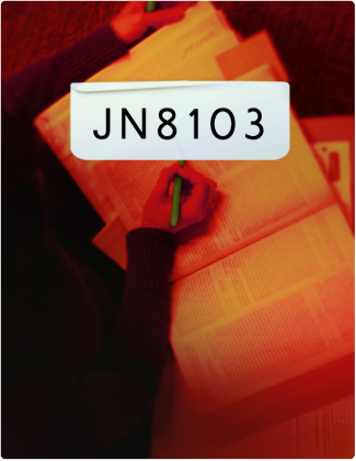 JN 8103 is written in black letters, with someone highlighting text in a book in the background.