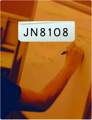 JN 8108 is written in black text, with someone writing on a chart board in the background.