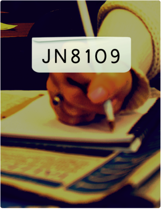 JN 8109 is written in black text, with a student writing in a notebook in the background.