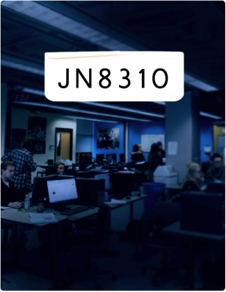 JN 8310 is written in black text, with the Ryersonian newsroom in the background.