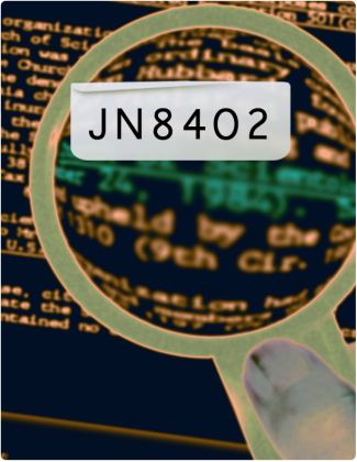 JN 8402 is written in black text, with a microscope being held over words in the background.