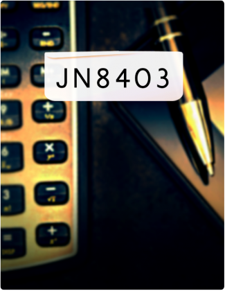 JN 8403 written in black text, with a calculator and pen in the background.
