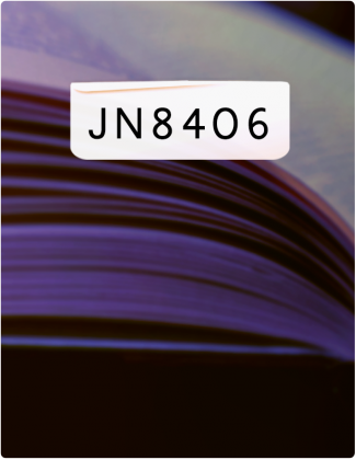 JN 8406 is written in black text, with a close shot of the pages of a book in the background.