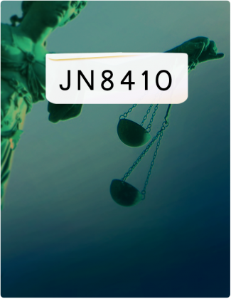 JN 8410 is written in black text, with a green statue holding two scales in the background.