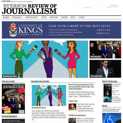 The Ryerson Review of Journalism's homepage, with several articles below.