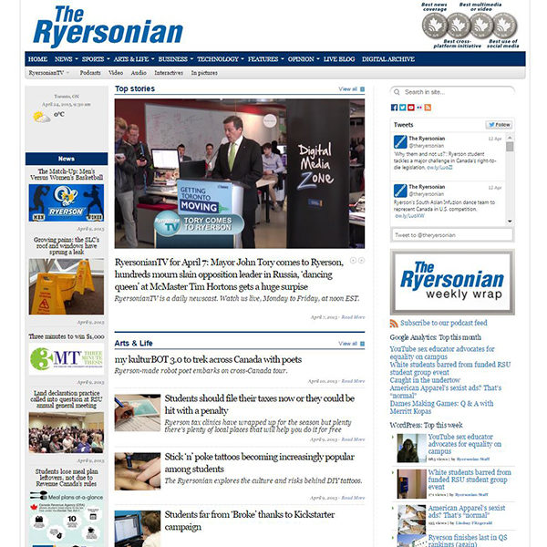 The Ryersonian's homepage, which displays several articles below.