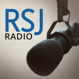 'RSJ' is written in blue text, with 'RADIO' directly underneath in black text. A microphone is to the right of the letters.