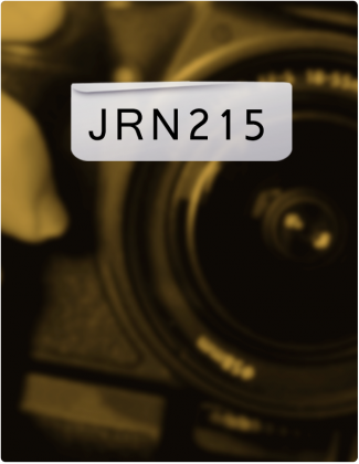 JRN 215 is written in black text, with a close-up of a camera in the background.