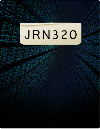 JRN 320 is typed in black font with a background that includes glowing blue and green shapes.