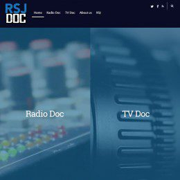 A home page of a site is shown, with a menu bar at the top and a 'Radio Doc' option on the left side of the page, along with a 'TV Doc' option on the right side of the page.